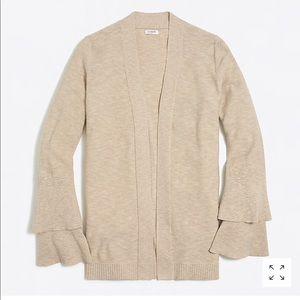 Tiered ruffle-sleeve cardigan sweater